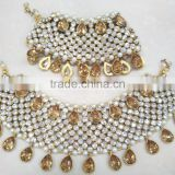 Gold Silver 2 tone crystal broad payal ANKLETS pair feet bracelet