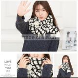 autumn winter ladies or women or girls fashion pure color new black and white scarf knit majored maker