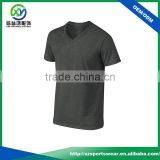 Popular custom mens black color short sleeve v-neck t-shirt,sports wear cotton fabric gym shirt