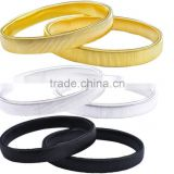 2 Pairs Metal Sleeve Holders Garters Silver,Gold & Black Elasticated Armbands Shirt Arm Bands