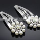 Flower Beaded Silver Snap Clip Pearl Hair Pin For Kids Kanzashi Photo Prop