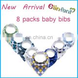 New Arrival cotton print bandana drool baby bibs organic baby bibs of 8 packs