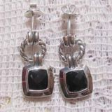 925 Silver Jewelry Black Onyx Cushion Earrings(E-027)