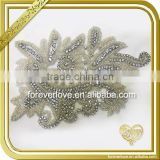 Elegant handmade crystal rhinestone trim floral applique for bridal FHA-047                                                                                                         Supplier's Choice