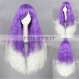 cheap short kinky long 70cm white purple ombre curly lolita women synthetic hair party wig