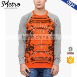 Custom Stripe Raglan Sleeve Orange Stripe Sweatshirts