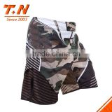 100% polyester men's 2015 wholesale fashion custom sublimated printed men's camo fight mma shorts