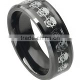 Men's Ceramic Carbon Fiber Skull Inlay Band