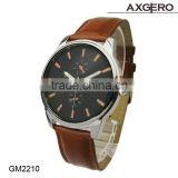 Latest design men stainless steel case back, leather watch, watch wholesale