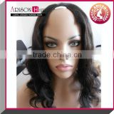 Finest quality wholesale price 100% mongolian human hair natural color kinky curly u part wig for black women