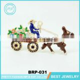 Hot sell christmas jewelry Santa Claus pony car with flower brooch for woman