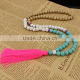 NE2261 Fashion hand knotted wooden beads hopink tassel necklace                                                                         Quality Choice