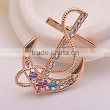 Brooch, Crystal Anchor Lapel Pint, Genuine Gold Brooch Pins For Men Navy Jewelry Wholesale