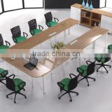 Conference table modern design, meeting table desk, metal foot meeting table with power socket (SZ-MT001)