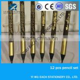 2014high quality 7inch black wood Heat transfer printing/revolving pencil available