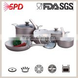 pressed cookware sets with heatproof paint ceramic coating soft touchable handle tempered glass lids