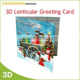Hot Sale Change Effect Flashing Christmas Greeting Cards, 3D Lenticular Happy New Year Greeting 3D Cards