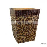 PU Leather, Leopard Point Velvet Waste Bin for Hotel Supply