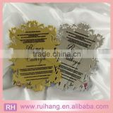 Laser carve mirrored black fond silk screen printing on golden&silver acrylic wedding invitation cards                                                                         Quality Choice