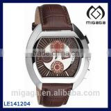 Fashion genuine leather band chronograph watch for men NEW DESIGN/BROWN LEATHER CHRONO MENS WATCH