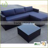 2015 4pcs garden rattan corner sofa set with coffee table