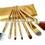 7pcs gold little cosmetic travel tool kit/makeup brush set wholesale/china manufacturer/make up tool bag products china