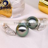 pearl wedding jewellery tahitian pearls cultured pearl earrings with 18k white gold