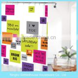Full Print letters Design PEVA Shower Curtain Children Use