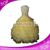 Hot sale beauty girls light yellow evening party dress