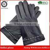 Bestselling Helilai OEM Winter Warm Cashmere Lined Men Black Luxury Leather Texting Driving Gloves