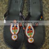 Masai beaded leather sandals (with bead work designs, comfortable rubber soles)