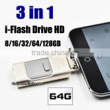Timiya Newest 3 IN 1 OTG USB 2.0 Micro Flash Drive ,Largest 2tb usb flash drive for iphone ipod ipad android and pc