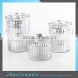 Hot Sale Hanging Silver Mercury Glass Votives Tealight Holder Ribbed Glass Jars For Candle