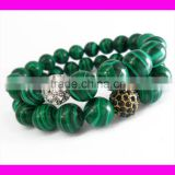 GZKJL-BL0171 Stretch Bracelet Semi Precious Gemstone Beaded Malachite Bracelet