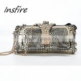 2016 elegant metal clutch party bag retro crystal box clutch evening bag                                                                         Quality Choice