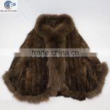 Big size women knitted mink fur bat wing shawl with fox fur collar trimming