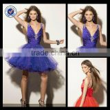 2013 Wholesale Custom Made Charming Mini V-neck Royal Blue Sequined Girl Dress Bandages Homecoming Dress H0005