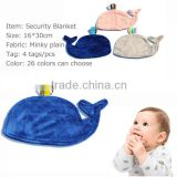 Baby Tag Blanket Keep Baby Nice Comfort Whale Design Ribbon Baby Blanket