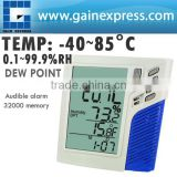 Wallmount / Desktop Temperature Humidity RH Datalogger Monitor Calendar Clock Dew Point Wet Bulb + 32000 Memory Taiwan Made