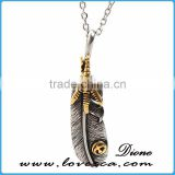 2017 Guangzhou factory manufacture jewelry pendants charms titanium feather pendant