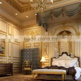 Luxurious Classic French Baroque Imperial Golden Decorated Master Bedroom Interior 3D Rendering Design BF12-03314h