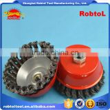 "5"" steel wire cup brush wheel twist knot crimped bowl disc abrasive M14 round grinding cheaning brush"
