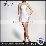 MGOO 2015 Alibaba Gold Supplier Dress Customized Silver Bandage Dress With Cap Sleeves Fashion Designing Clothes H286