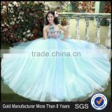 MGOO High Quality Hand Made Fairy Blue Prom Dresses Big Ball Tulle Dress Beautiful Vestidos YDYS15B0016