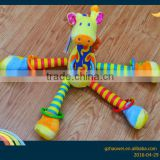 Lovely giraffe bell insert baby educational plush toys baby bed hanging toys