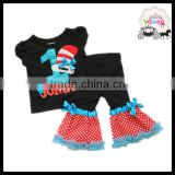 yawoo 2016 emboridery clothes sets black shirt with colorful 1st baby birthday outfits chiffon ruffle clothes kids holiday sets