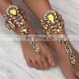 5 Colors Best Selling Crystal Jewelry Barefoot Sandals Fashion Hand Chain Jewelriy Colorful Anklet with Toe Ring