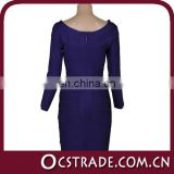 2014 long sleeve hot sell blue around neck strap evening dress