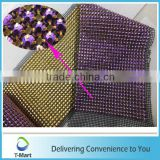 Guangzhou supplier plastic rhinestone mesh for bag decoration crystal strass mesh trim for wedding dress