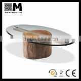 modern oval home furniture timpered glass top wood base table natural wood coffee table